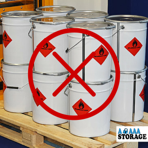 flammables in storage unit